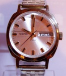 Sekonda 26 Jewel Day and Date Gold Case Silver Dial